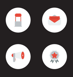 flat icons megaphone award message and other vector image vector image