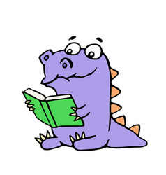 happy purple dragon sits and reads a book with vector image vector image