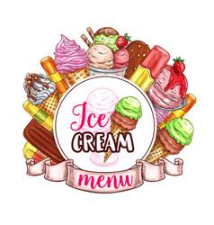 Ice cream menu template vector