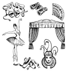 ink hand drawn theater set vector image vector image