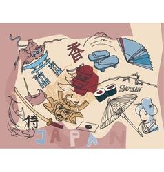 japan doodles vector image