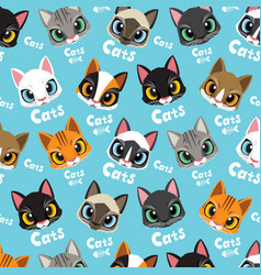 Love cats pattern vector