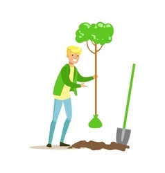 Man planting a tree contributing into vector