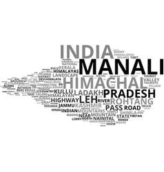Manali word cloud concept vector