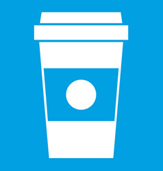 Paper cup of coffee icon white vector