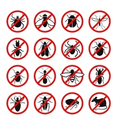 Pest control harmful insects and rodents set vector