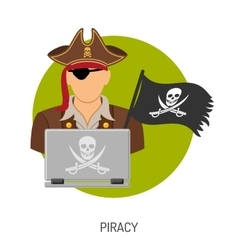 Piracy concept with pirate icon vector