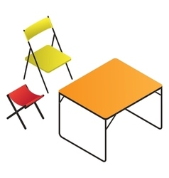 Plastic table and chair vector