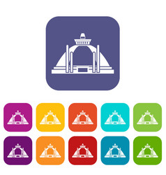 Polonnaruwa ancient stupa icons set vector