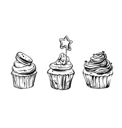 set of cute cupcakes and muffins vector image vector image
