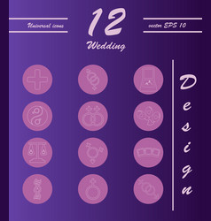 Set of wedding icons in modern thin line style vector