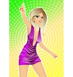 sexy blonde girl in night club vector image