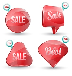 Shiny gloss red banner sale set vector image