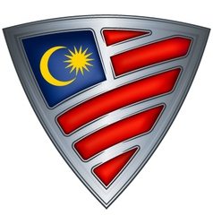 steel shield with flag malaysia vector image