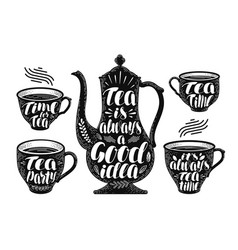 Tea label set brewing teapot cup hot drink icon vector