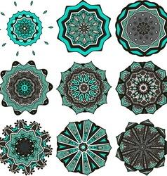 Turquoise mandalas vector image vector image