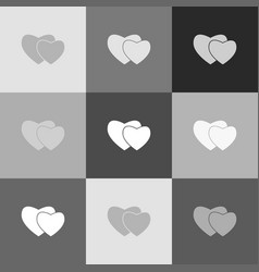 two hearts sign grayscale version of vector image vector image