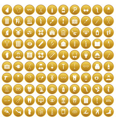 100 pharmacy icons set gold vector