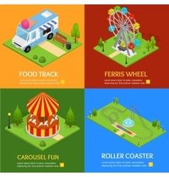 Amusement park banner card set vector