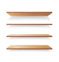 Empty wood shelves template set isolated vector