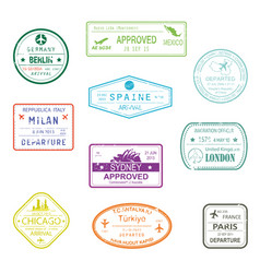 visa passport signs or rubber stamps for documents vector image