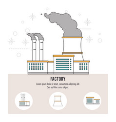 Plant smoke building chimney factory industry icon vector