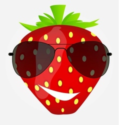 Funnt sweet tasty strawberry in sunglasses vector