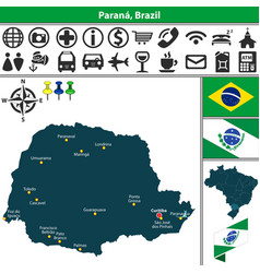 map of parana brazil vector image