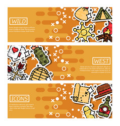Set of horizontal banners about wild west vector