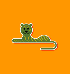 Paper sticker on stylish background cartoon tiger vector