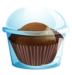 A cupcake container with a chocolate flavored vector