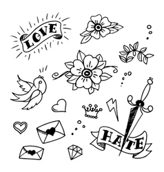 Set of old school tattoos elements vector
