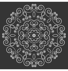 Round lacy vintage pattern on black background vector
