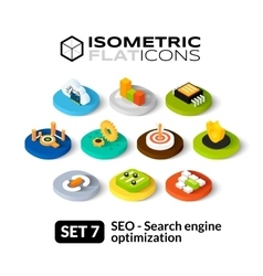 Isometric flat icons set 7 vector