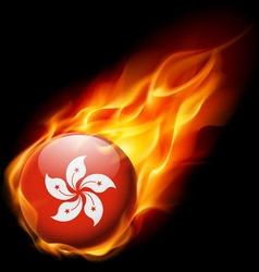 Round glossy icon of hong kong vector