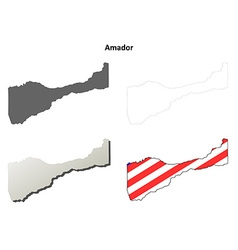 Amador county california outline map set vector