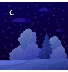 Christmas landscape night forest vector