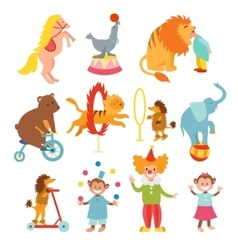 Cute circus animals and funny clowns collection vector image