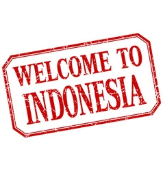 Indonesia - welcome red vintage isolated label vector