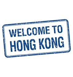 Welcome to hong kong blue grunge square stamp vector