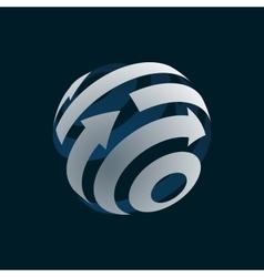 Abstract globe logo element rotating arrows vector