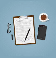 agreement document vector image vector image