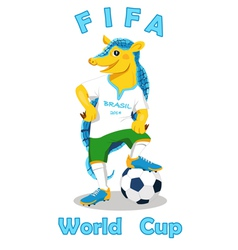Armadillo fifa world cup mascot isolated on white vector