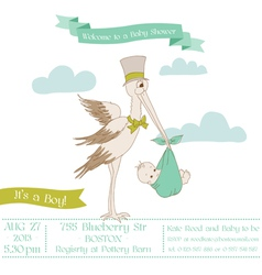Baby shower card with stork vector