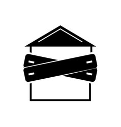 Bankruptcy - boarded-up house icon vector