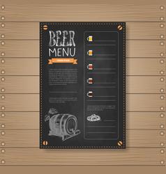 Beer menu design for restaurant cafe pub chalked vector
