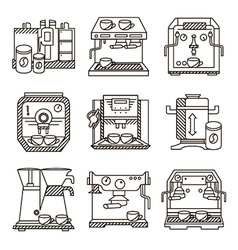 Black line icons for coffee machines vector image
