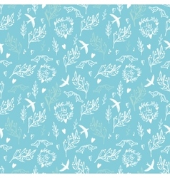 Blue seamless pattern with flowers and birds vector image vector image