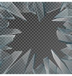 Broken glass window frame vector