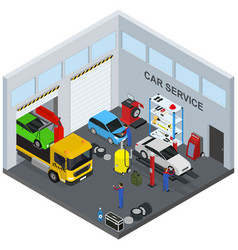 car service interior with furniture and equipment vector image vector image